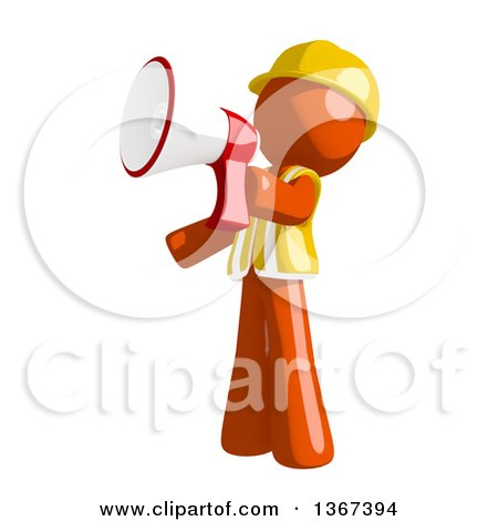Clipart of an Orange Man Construction Worker Using a Megaphone - Royalty Free Illustration by Leo Blanchette
