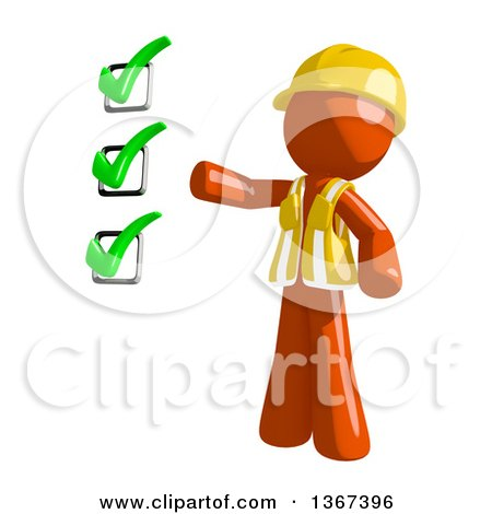 Clipart of an Orange Man Construction Worker Presenting a Check List - Royalty Free Illustration by Leo Blanchette