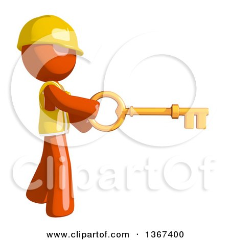 Clipart of an Orange Man Construction Worker Holding a Skeleton Key - Royalty Free Illustration by Leo Blanchette