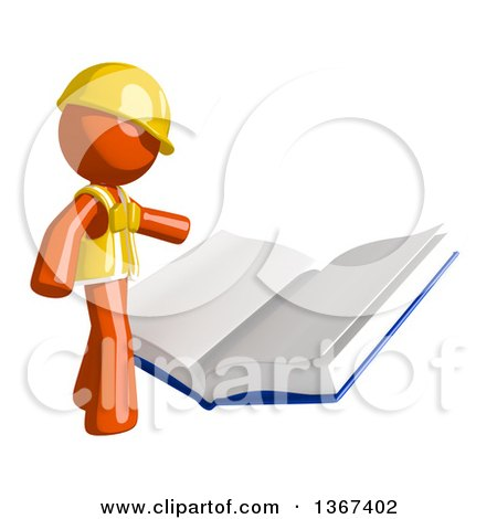 Clipart of an Orange Man Construction Worker Reading a Giant Book - Royalty Free Illustration by Leo Blanchette