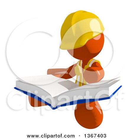 Clipart of an Orange Man Construction Worker Sitting and Reading a Book - Royalty Free Illustration by Leo Blanchette