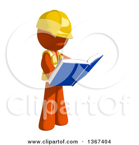 Clipart of an Orange Man Construction Worker Reading a Book - Royalty Free Illustration by Leo Blanchette