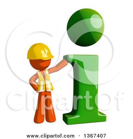 Clipart of an Orange Man Construction Worker with an I Information Icon - Royalty Free Illustration by Leo Blanchette