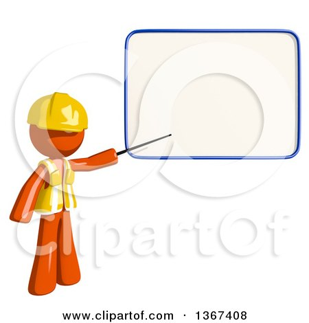 Clipart of an Orange Man Construction Worker Presenting a Board - Royalty Free Illustration by Leo Blanchette