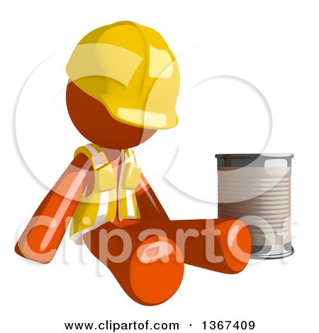 Clipart of an Orange Man Construction Worker Begging and Sitting with a Can - Royalty Free Illustration by Leo Blanchette