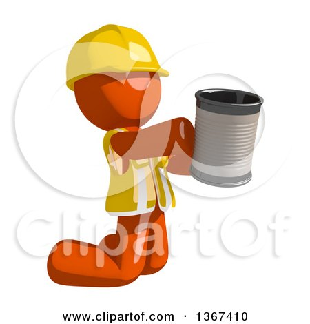 Clipart of an Orange Man Construction Worker Begging and Kneeling with a Can - Royalty Free Illustration by Leo Blanchette