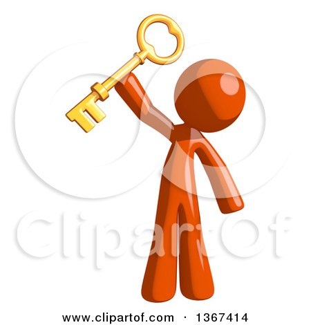 Clipart of an Orange Man Holding a Skeleton Key - Royalty Free Illustration by Leo Blanchette