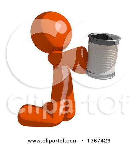 Clipart of an Orange Man Begging and Kneeling with a Can - Royalty Free Illustration by Leo Blanchette