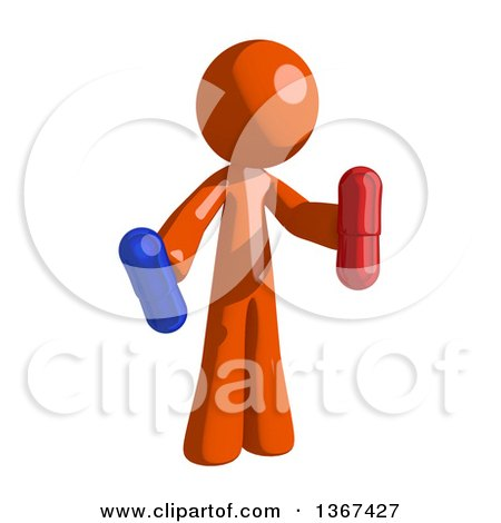Clipart of an Orange Man Holding Pills - Royalty Free Illustration by Leo Blanchette