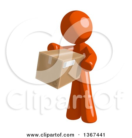 Clipart of an Orange Man Holding a Box - Royalty Free Illustration by Leo Blanchette