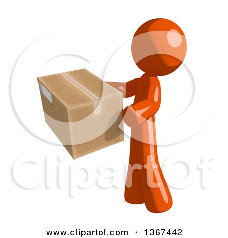 Clipart of an Orange Man Holding a Box, Facing Left - Royalty Free Illustration by Leo Blanchette