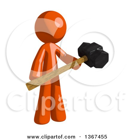 Clipart of an Orange Man Holding a Sledgehammer - Royalty Free Illustration by Leo Blanchette