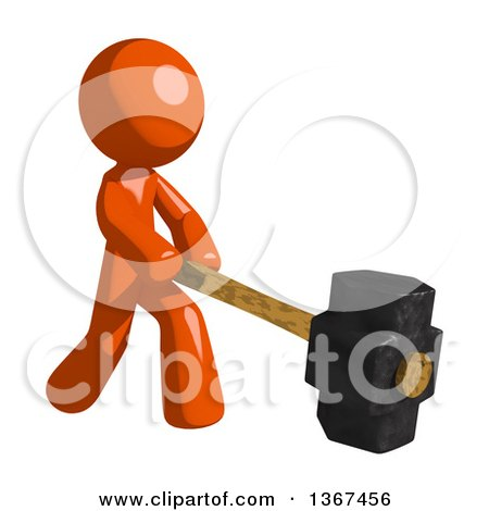 Clipart of an Orange Man Swinging a Sledgehammer - Royalty Free Illustration by Leo Blanchette