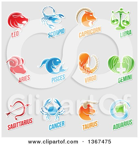 Clipart of White Outlined Sticker Styled Zodiac Designs with Text on Gray - Royalty Free Vector Illustration by cidepix
