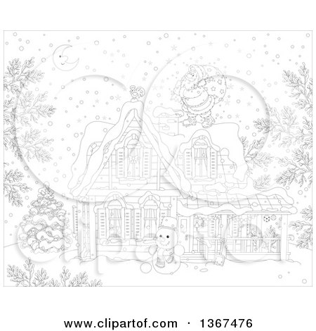 Clipart Of A Black And White Christmas Eve Scene Of Santa Claus On A