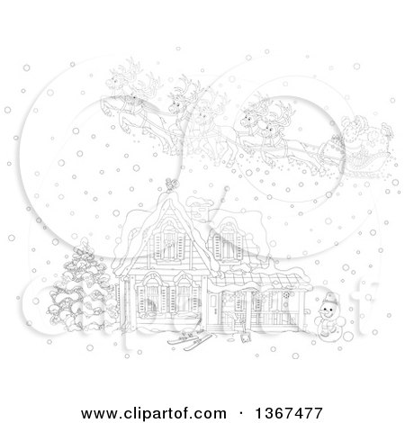 Clipart of a Black and White Christmas Eve Scene of Santa and His Reindeer Flying over a Home in the Snow - Royalty Free Vector Illustration by Alex Bannykh