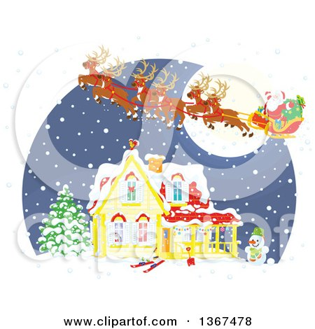 Clipart of a Christmas Eve Scene of Santa and His Reindeer Flying over a Home in the Snow - Royalty Free Vector Illustration by Alex Bannykh