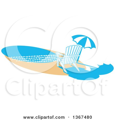 Clipart of a Chair and Umbrella on a Beach - Royalty Free Vector Illustration by Andy Nortnik