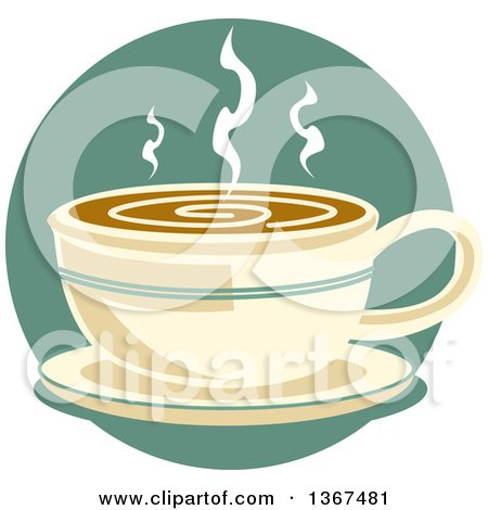 Clipart of a Retro Cup of Hot Coffee on a Saucer, over a Blue Circle - Royalty Free Vector Illustration by Andy Nortnik