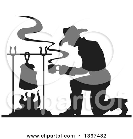 Clipart of a Black Silhouetted Cowboy Kneeling and Making Coffee over a Camp Fire - Royalty Free Vector Illustration by Andy Nortnik