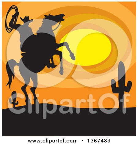 Clipart of a Silhouetted Horseback Cowboy Holding a Rope on a Rearing Horse Against a Desert Sunset - Royalty Free Vector Illustration by Andy Nortnik