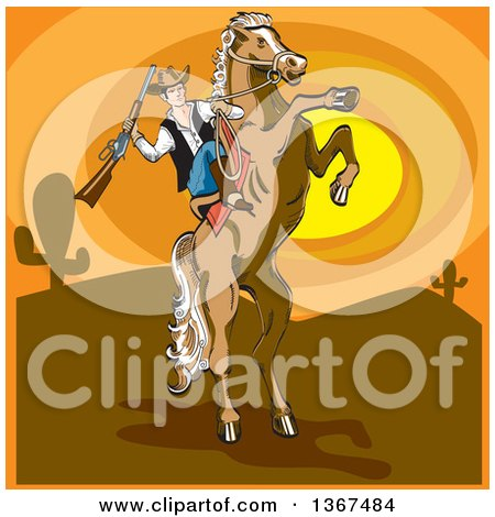 Clipart of a Horseback Cowboy Holding a Rifle on a Rearing Horse Against a Desert Sunset - Royalty Free Vector Illustration by Andy Nortnik