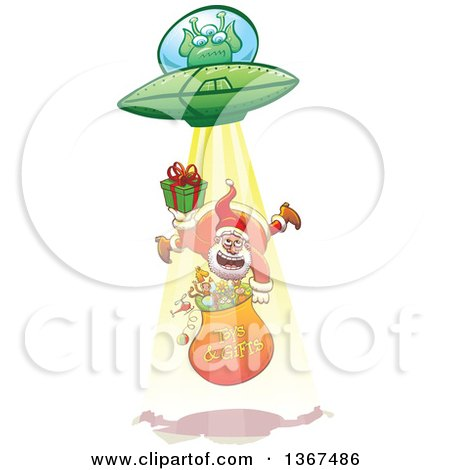 Clipart of a Cartoon Christmas Santa Claus Holding a Gift and Sack, Being Abducted up by a Ufo - Royalty Free Vector Illustration by Zooco