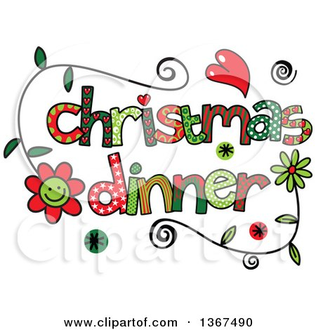 Clipart of Colorful Sketched Christmas Dinner Word Art - Royalty Free Vector Illustration by Prawny