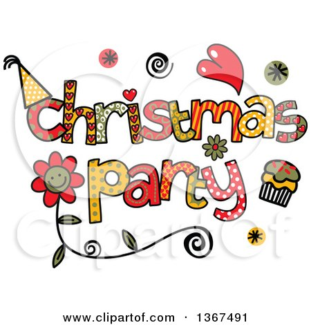Clipart of Colorful Sketched Christmas Party Word Art - Royalty Free Vector Illustration by Prawny
