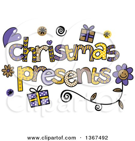 Clipart of Colorful Sketched Christmas Presents Word Art - Royalty Free Vector Illustration by Prawny
