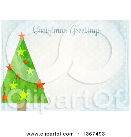 Clipart of a Distressed Blue Polka Dot Background with a Tree and Christmas Greetings Text - Royalty Free Illustration by Prawny