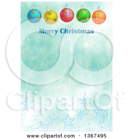 Clipart of a Distressed Blue Background with Baubles and Merry Christmas Text - Royalty Free Illustration by Prawny
