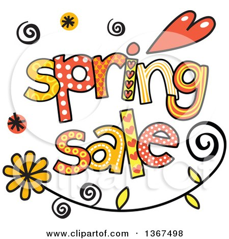 Clipart of Colorful Sketched Spring Sale Word Art - Royalty Free Vector Illustration by Prawny