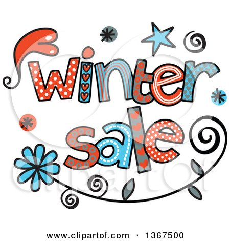 Clipart of Colorful Sketched Winter Sale Word Art - Royalty Free Vector Illustration by Prawny