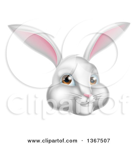 Clipart of a Happy White Easter Bunny Rabbit Face - Royalty Free Vector Illustration by AtStockIllustration