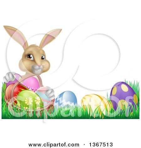 Clipart of a Cute Beige Bunny Rabbit with a Basket and Easter Eggs in Grass, with Text Space - Royalty Free Vector Illustration by AtStockIllustration