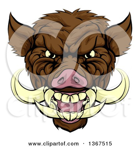 Clipart of a Cartoon Tough Brown Razorback Boar Mascot Head - Royalty Free Vector Illustration by AtStockIllustration
