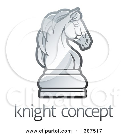 Clipart of a Gradient Chess Knight Piece over Sample Text - Royalty Free Vector Illustration by AtStockIllustration