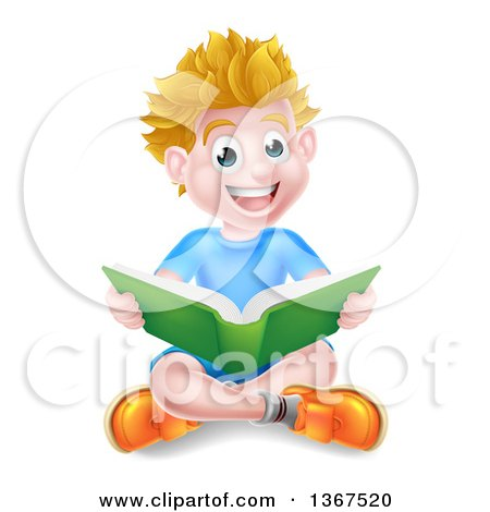 Clipart of a Happy Blond Caucasian School Boy Reading a Book on the Floor - Royalty Free Vector Illustration by AtStockIllustration