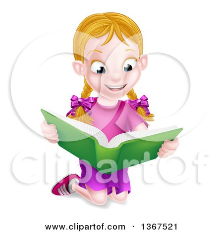 Clipart of a Happy Blond Caucasian School Girl Kneeling and Reading a Book - Royalty Free Vector Illustration by AtStockIllustration