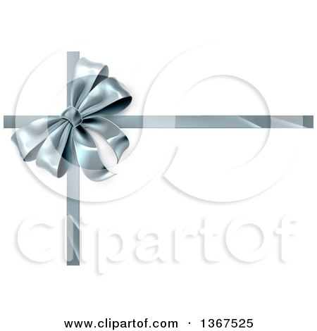 Clipart of a 3d Silver Christmas, Birthday or Other Holiday Gift Bow and Ribbon on White - Royalty Free Vector Illustration by AtStockIllustration