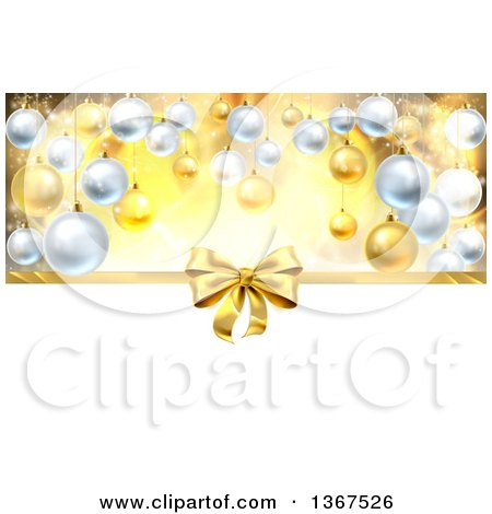 Clipart of a 3d Gold Christmas, Birthday or Other Holiday Gift Bow and Ribbon over Baubles with Gold and White - Royalty Free Vector Illustration by AtStockIllustration