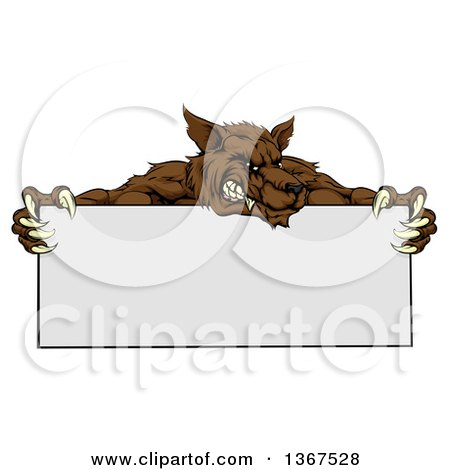 Clipart of a Snarling Brown Wolf Mascot over a Blank Sign - Royalty Free Vector Illustration by AtStockIllustration