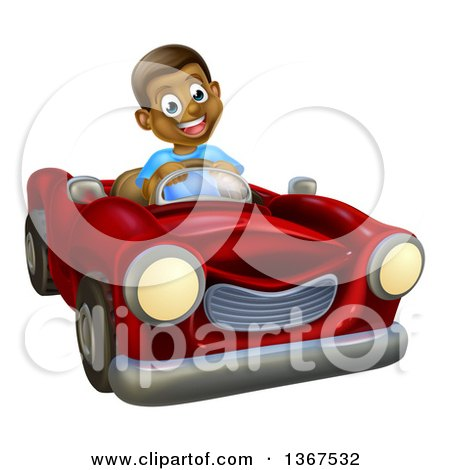 Clipart of a Happy Black Boy Driving a Red Convertible Car - Royalty Free Vector Illustration by AtStockIllustration