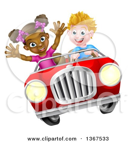 Clipart of a Happy White Boy Driving a Black Girl and Catching Air in a Convertible Car - Royalty Free Vector Illustration by AtStockIllustration