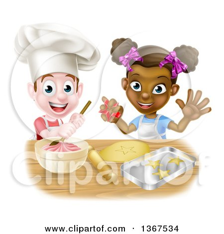 Clipart of a Happy White Boy Making Frosting and Black Girl Making Cookies - Royalty Free Vector Illustration by AtStockIllustration