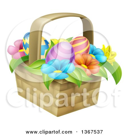 Clipart of a Basket of Easter Eggs and Colorful Flowers - Royalty Free Vector Illustration by AtStockIllustration