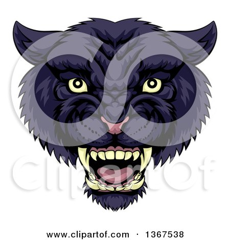 Clipart of a Tough Roaring Black Panther Mascot Head - Royalty Free Vector Illustration by AtStockIllustration