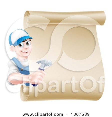 Happy Young Brunette Caucasian Worker Man Wearing a Baseball Cap, Holding a Hammer and Looking Around a Scroll Sign Posters, Art Prints