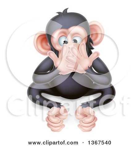 Clipart of a Cartoon Black and Tan Speak No Evil Wise Monkey Covering His Mouth - Royalty Free Vector Illustration by AtStockIllustration